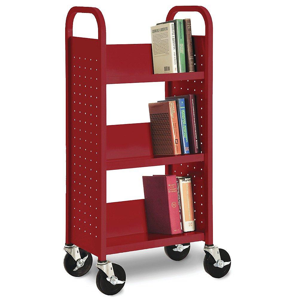 Sandusky Lee SL330-EY Single Sided Sloped Shelf Book Truck, 14 Length, 32 Width, 46 Height, 3 Shelves, Sunshine