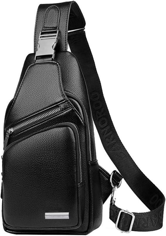 Leathario Crossbody Bag Men Genuine Leather Sling Bag Chest