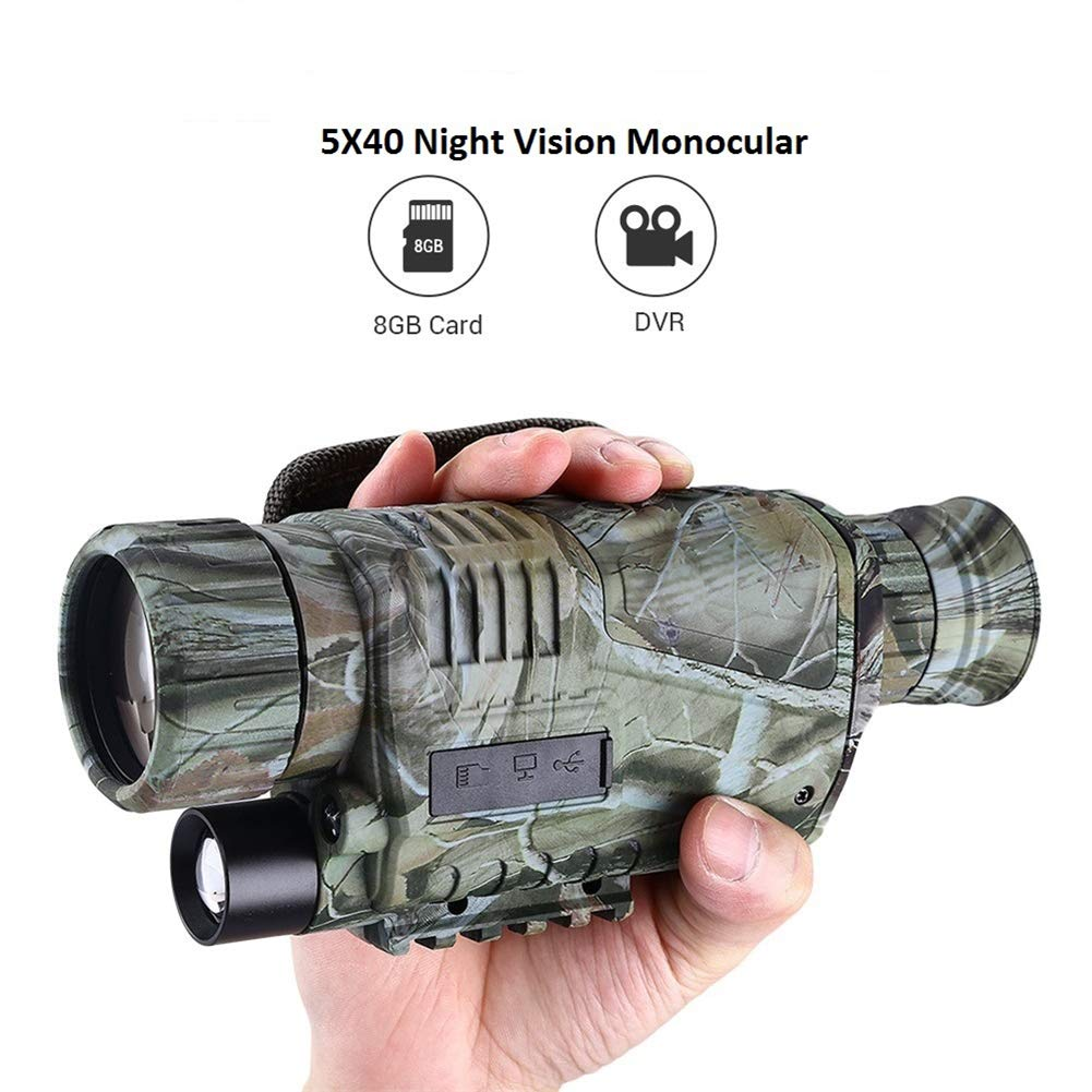 Deeptech Night Vision Monocular 5x40 Digital Zoom Infrared Portable Night Vision Scope 200m Visible for Hunting Forest Observe Wildlife Secenery by Deeptech