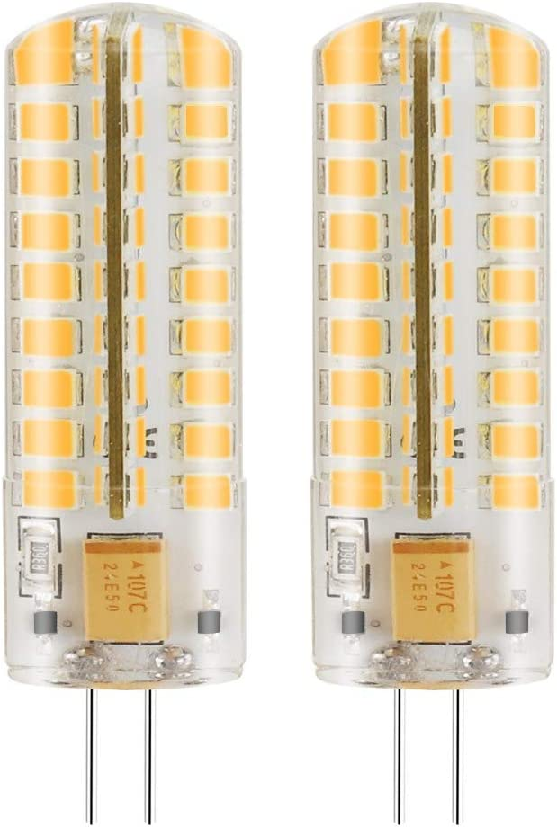 MENGS - Bombillas LED (regulable, 2 unidades, G4, 7 W CA/CC, 12 V, color blanco cálido, 3000 K, 72 x 2835 SMD, con carcasa de silicona)