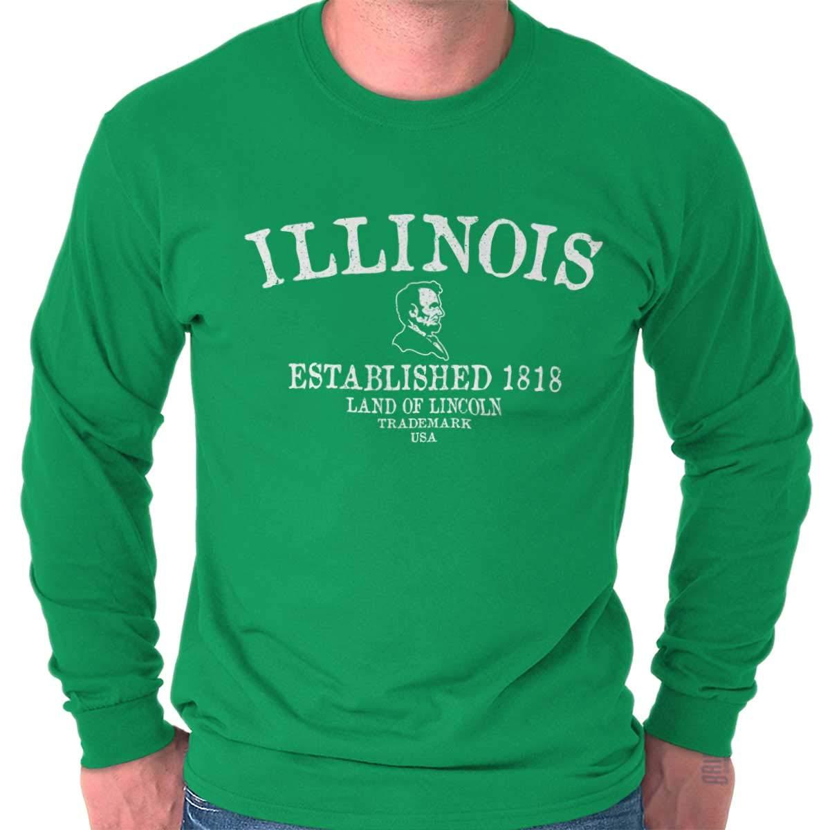 a96422d74 Classic Teaze Illinois State - Trademark Printed Long Sleeve T Shirt - Irish  Green