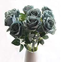 cn-Knight Artificial Flower 6pcs 22'' Long Stem Silk Velvet Rose Real Touch Faux Flower for Wedding Bridal Bouquet…