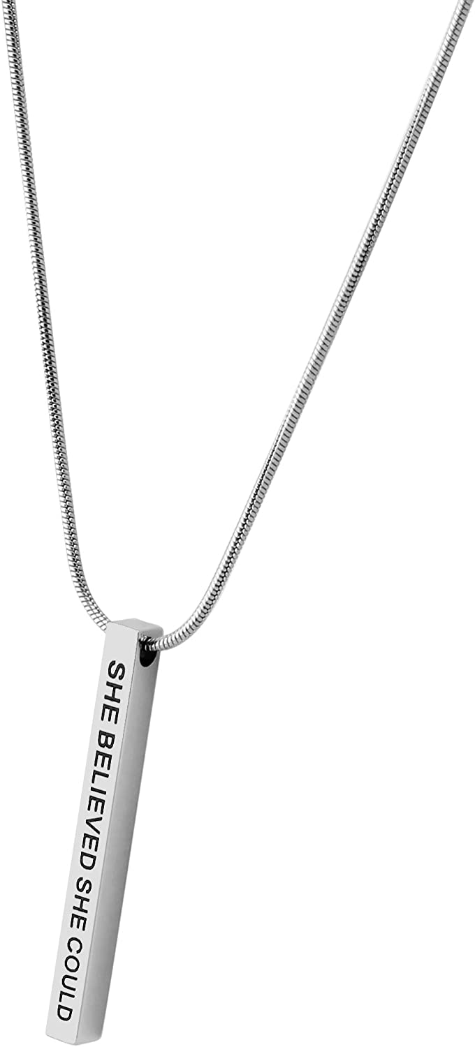 Lademayh Bar Necklace Engraved Inspirational Word Necklaces for Women, Stainless Steel Vertical Personalized Necklace with 20