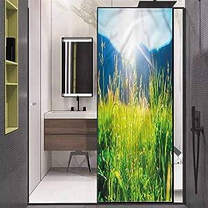 """Window Stickers Window Film Decorative Privacy Film,Pastoral Field Alpine Meadow Removable Window Sticker Anti-UV Glass Film,17.7"""" W x 35.4"""" L inches"""