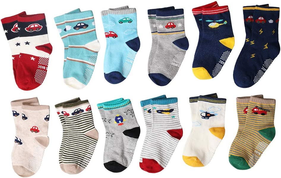 HUANDATONG Baby Kids Socks 12 Pairs of Cotton Crew Socks Helicopter Pattern Boy Socks Cute Car Pattern Assorted Childrens Socks