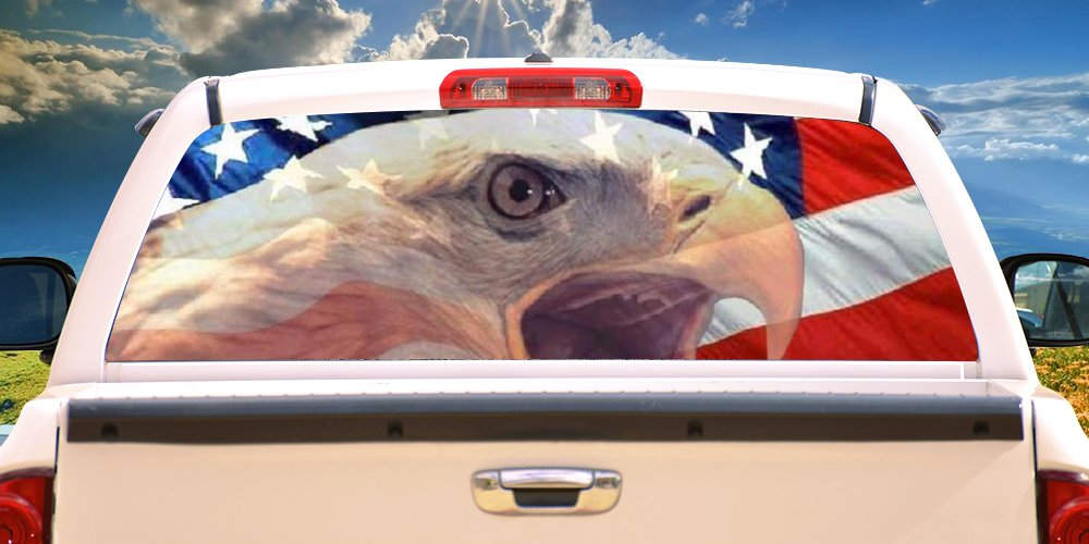 SignMission WARBIRD Rear Window Graphic bald eagle truck view thru vinyl