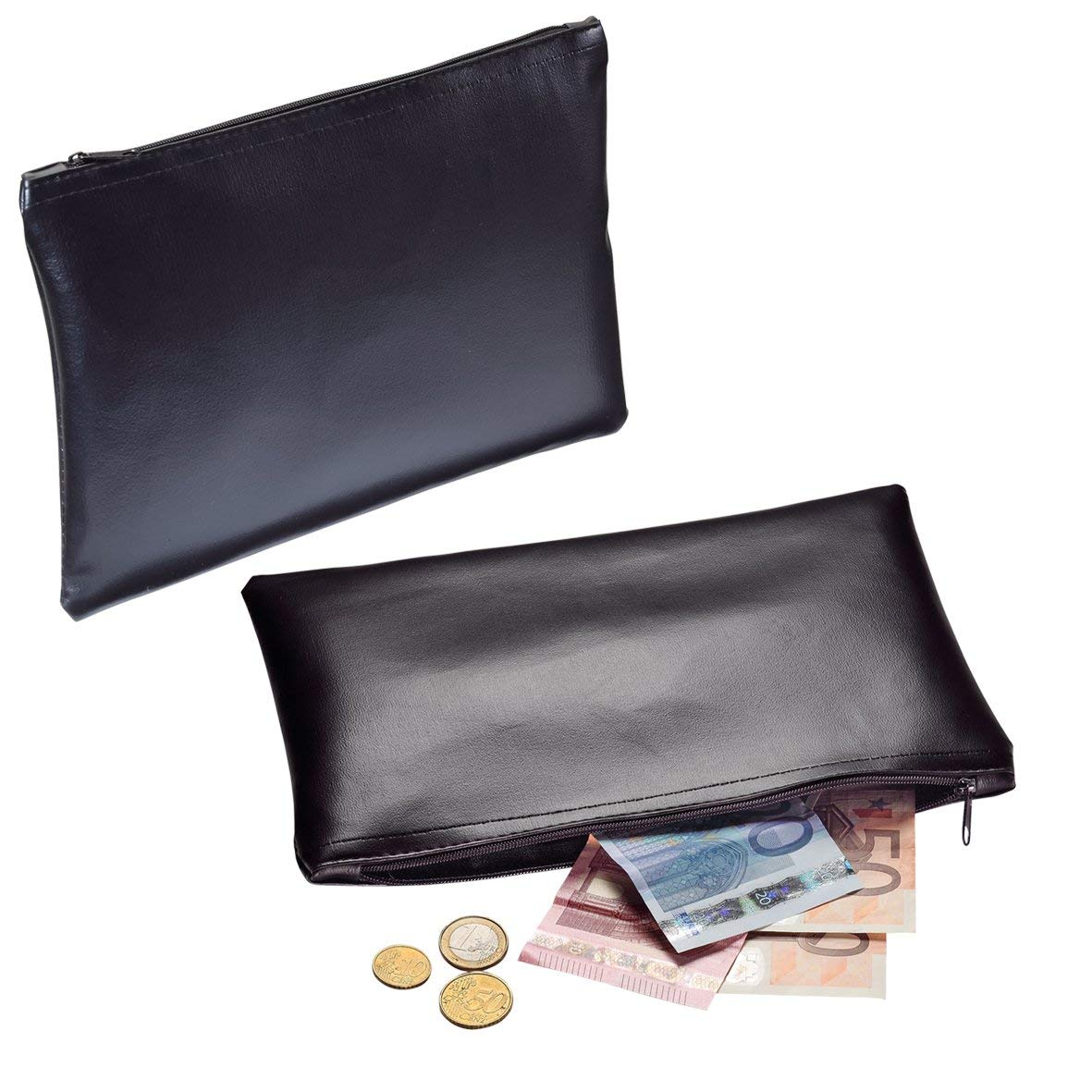 Portafoglio nero Cash Bank Borsa Grande in Finta Pelle Borsa Per Il Trasporto 25,5/x 17/cm