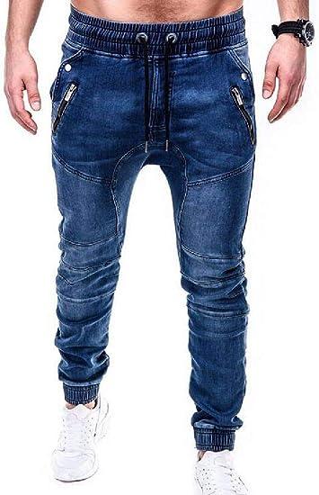 GUOCAI Mens Skinny Jeans Denim Jogger Pants Drawstring Stretch Trousers