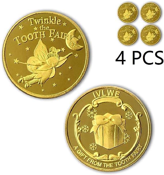 NLR Monedas Tooth Fairy [4 unidades] Tooth Fairy Monedas experiencia para el diente perdido Niños: Amazon.es: Hogar