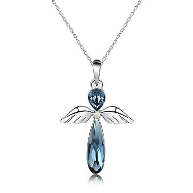 Pendentif ange gardien en platine pour femme et cristal de Swarovski