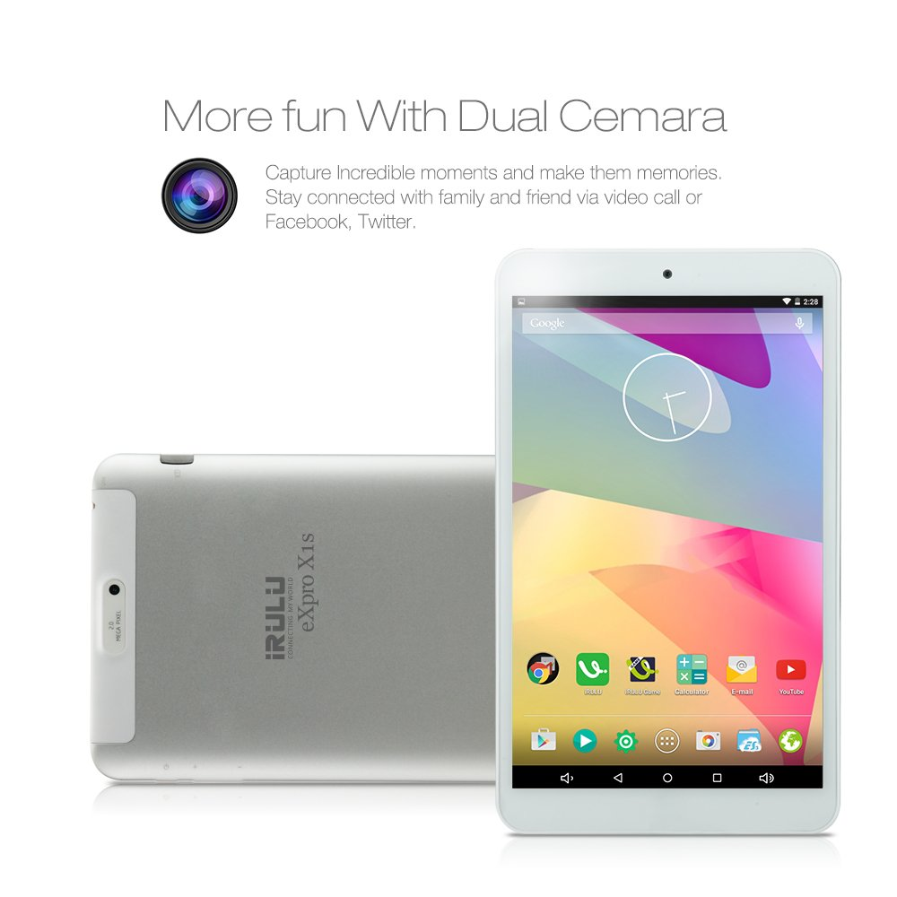 iRULU eXpro 1S 8 Inch Google Android 5 1 Lollipop Tablet PC, Quad Core, IPS  Multi-touch Screen, 1280*800 Resolution, 16 GB Nand Flash - White Front