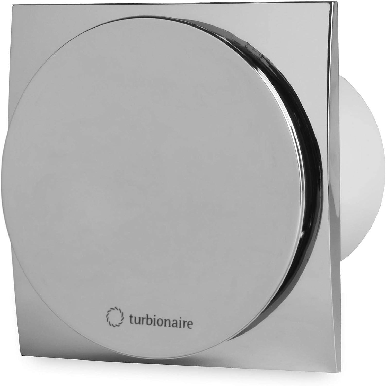 Turbionaire MIO 100 LL-SC Extractor de Baño 100 mm, cromado, extracción, ventilación estándar, para baño, cocina, motor con rodamientos de bola, válvula de no retorno protección IPX4