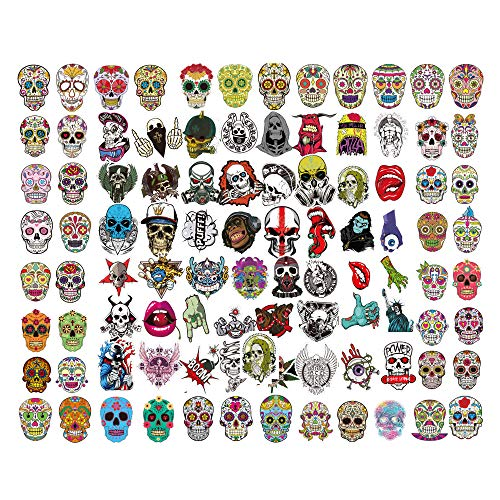 Sugar Skull Stickers 100 PCS,Graffiti Decal Skull Head DIY Sticker Car Sticker Personalize Laptops, Skateboard, Snowboard, Car, Motorcycle, Helmet, Luggage, Bikes Stickers Halloween Stickers