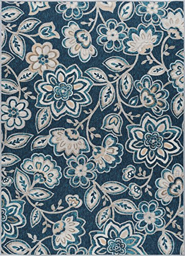 Tammy Transitional Floral Navy Non-Skid Rectangle Area Rug, 6.7' x (Blue Floral Vines Rectangle Rug)
