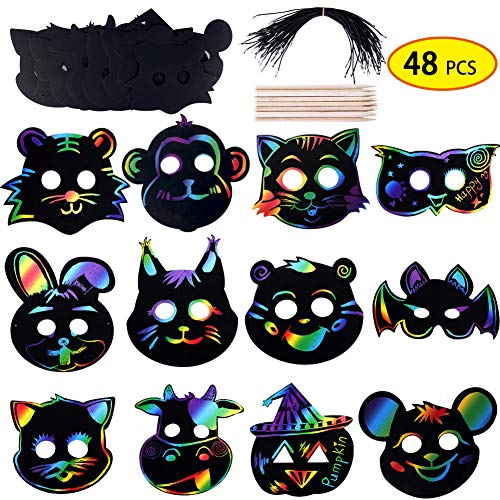 Jungle Forest Animal Themed Party Supplies 48Pcs Magic Scratch Rainbow Paper Animal Masks Wooden Styluses Elastic Ropes DIY Gift for Kids Birthday Party Christmas Masquerade Mask party Thanksgiving