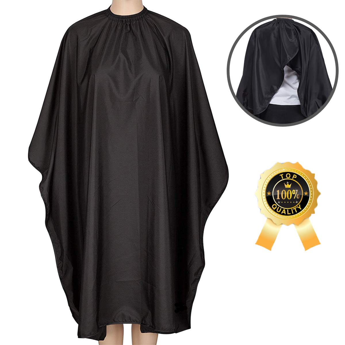Barber Cape, Ymnenvxo Professional Hair Salon Cape with Adjustable Metal Clip, Waterproof Hair Cutting Cape for Barbers and Stylists - 55 x 63 inches Black by Ymnenvxo