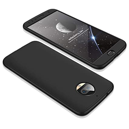 outlet store 0a325 277a2 Annure® Back Cover Case for Moto G5s Plus - 360 Protection (Black-Black)