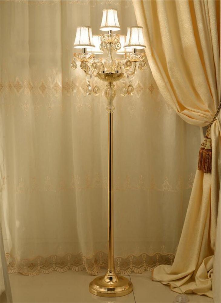 MEHE@ Mode Stilvoll Persönlichkeit kreativ European Gold Kristall Stehleuchte Tuch Lampenschirm Wohnzimmer Schlafzimmer Luxuscreme Stehleuchte E14 Standleuchten (größe : 5heads)