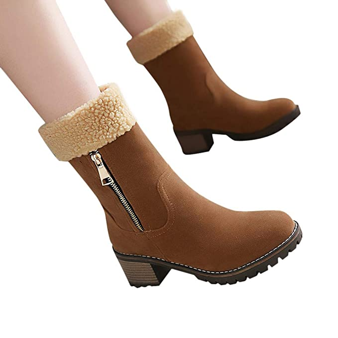 Viernes Negro JiaMeng Botas Invierno Mujer Moda Medio Botas Militares Mujeres Zapatos de Invierno Flock Warm Boots Navidad Botas de Nieve botín Corto: ...