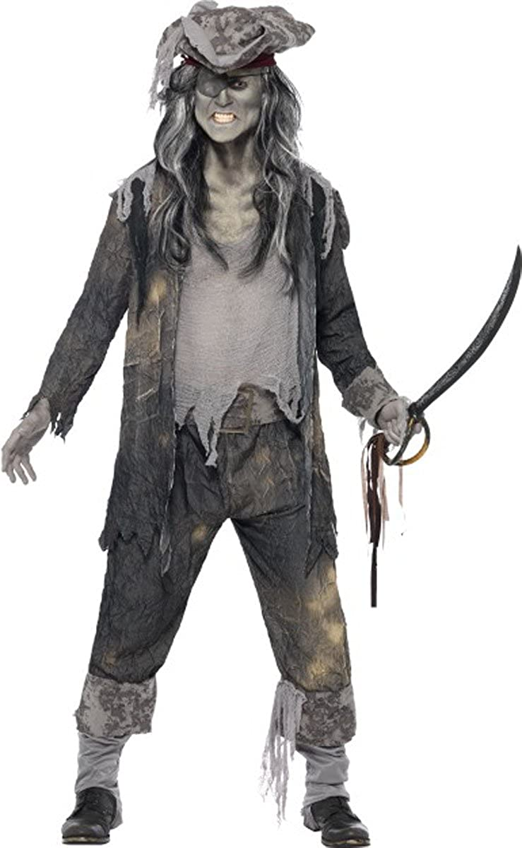 Homme Halloween Effrayant Déguisement Pirates Ghost Ship Ghoul Costume Noir