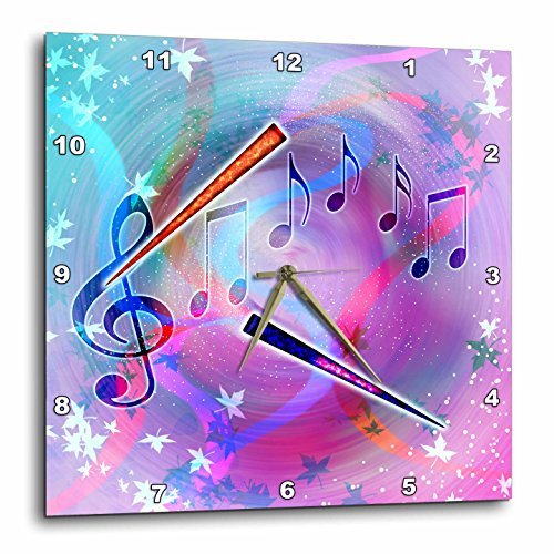 (3dRose DPP_212831_3 Musical Themes of Notes, Treble Clef, Pastel Colors & Flutes Wall Clock, 15 by 15