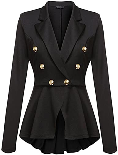 Women Double Breasted Vintage Military Coat Jacket Casual Long Sleeve Outwear US