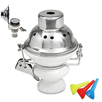 White Hookah Wind Cover Ceramic Bowl For Shisha Head Charcoal Tray with Stainless Steel Screen...