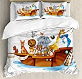 Religious King Size Duvet Cover Set by Ambesonne, Illustration of Many Animals Sailing in the Boat Mythical Journey Faith Giraffe, Decorative 3 Piece Bedding Set with 2 Pillow Shams, Multicolor