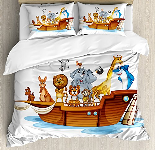Religious King Size Duvet Cover Set by Ambesonne, Illustration of Many Animals Sailing in the Boat Mythical Journey Faith Giraffe, Decorative 3 Piece Bedding Set with 2 Pillow Shams, Multicolor by Ambesonne