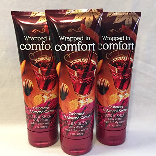 Merlot Wine Almond (Lot of 3 Bath & Body Works Wrapped in Comfort- Cashmere & Almond Cream- Ultra Shea Body Cream (Wrapped in Comfort))