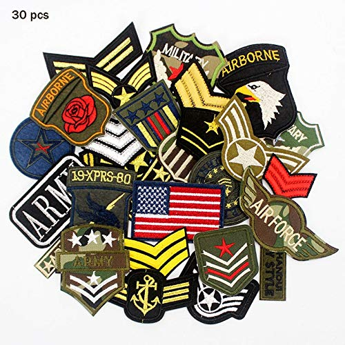 (High Quality | Patches | 30pcs/lot Mixed Troops Army Patches Badge Military Embroidery Patch Iron on for Clothes Jacket Jeans Applique | by AQANATURE)