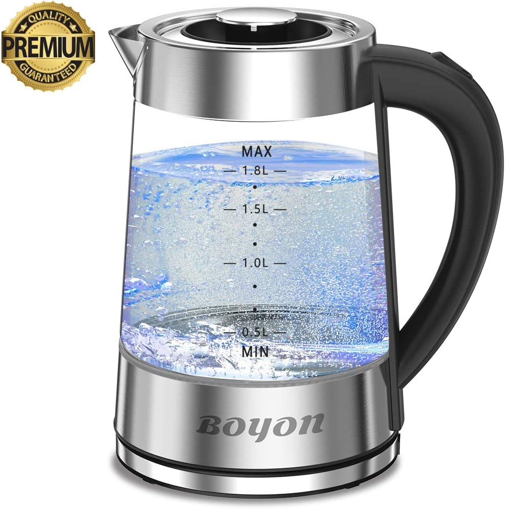 1.8L Electric Kettle 1500W BPA Free, Glass Electric Tea Kettle with Stainless Steel Inner Lid, Bottom, LED Indicator Light, Auto Shut-Off Boil-Dry Protection