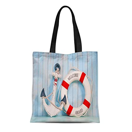 c953c493b306 Amazon.com: Semtomn Cotton Canvas Tote Bag Sailor Anchor and Life ...