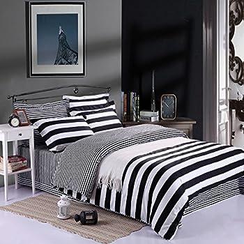kuality super soft microfiber fabric black and white striped design duvet cover 3pc set1 duvet cover 2 pillow shams suitable for insert