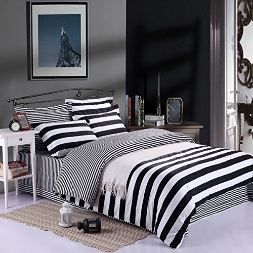 Clearance, Kuality Super Soft Microfiber Fabric Black and White Striped Design Duvet Cover 3pc Set(1 Duvet Cover, 2 Pillow Shams), Suitable for Comforter/Duvet Insert, Full/Queen Size (White Black Comforter And Duvet)