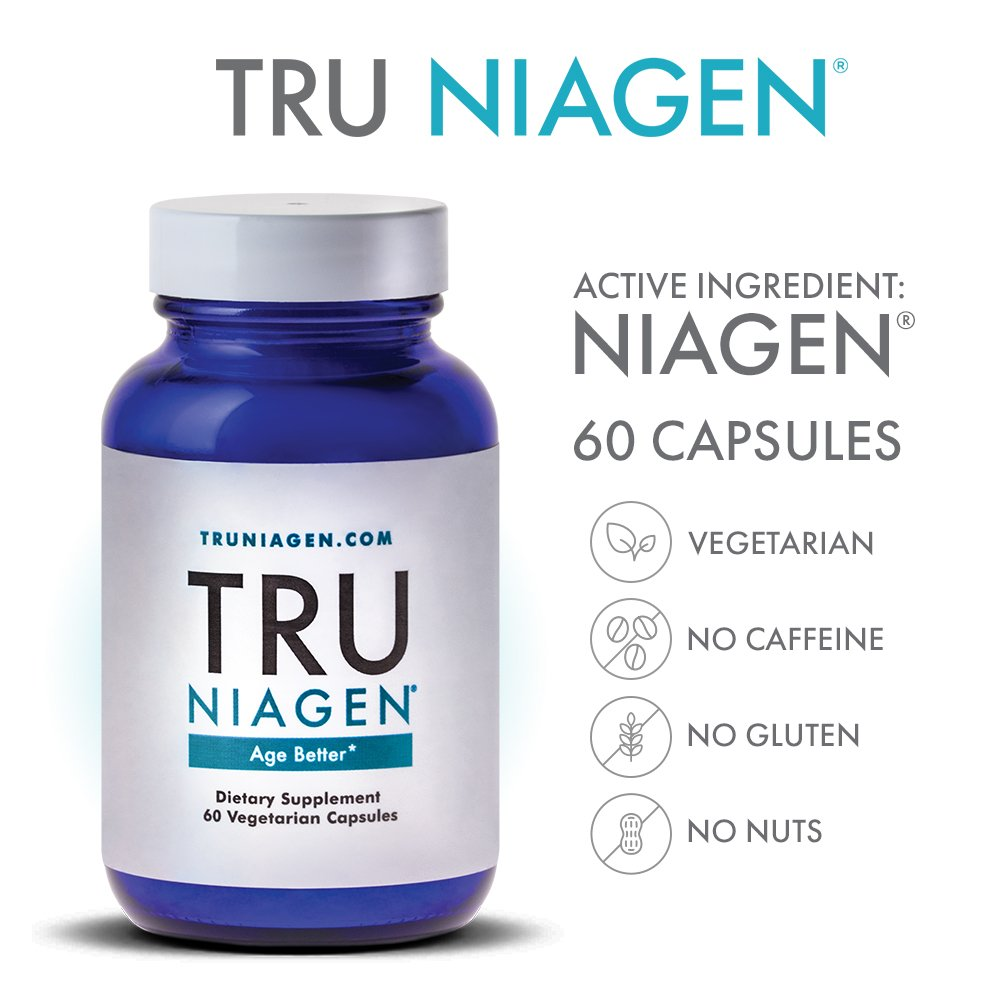 TRU NIAGEN - Vitamin B3 | Advanced NAD+ Booster | Nicotinamide Riboside NR | Increases Energy & Promotes Anti Aging - 250mg per Serving