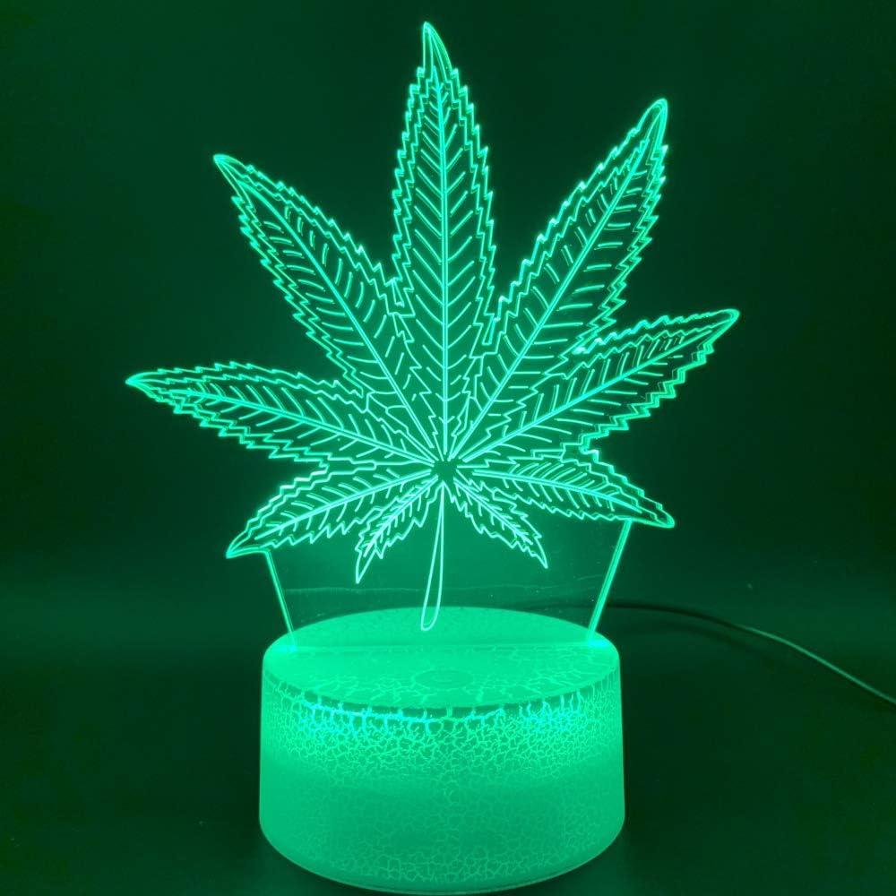 Baobaoshop 3D Phantom Led lámpara de luz Nocturna botánica Marihuana Cannabis Oficina Bar decoración de la habitación luz USB o batería luz Nocturna