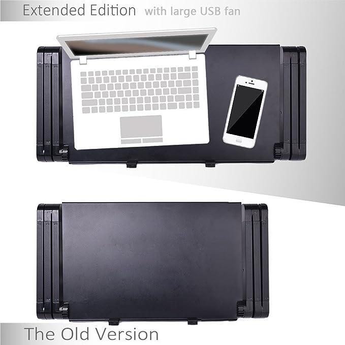 360 ° ajustable con ventilación para ordenador portátil mesa para portátil para ordenador portátil bandeja de cama función atril multifuncional y ergonomía ...