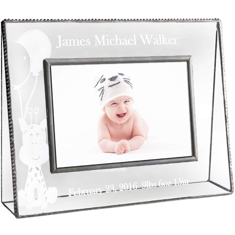 J Devlin Pic 319-46H EP556 Personalized Baby Keepsake Frame 4 x 6 Horizontal Engraved Glass Picture Frame Nursery Decor Photo by J Devlin Glass Art