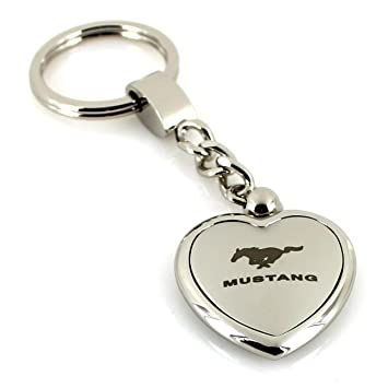 Ford Mustang Satin/Chrome Two Tone Heart Shape Keychain