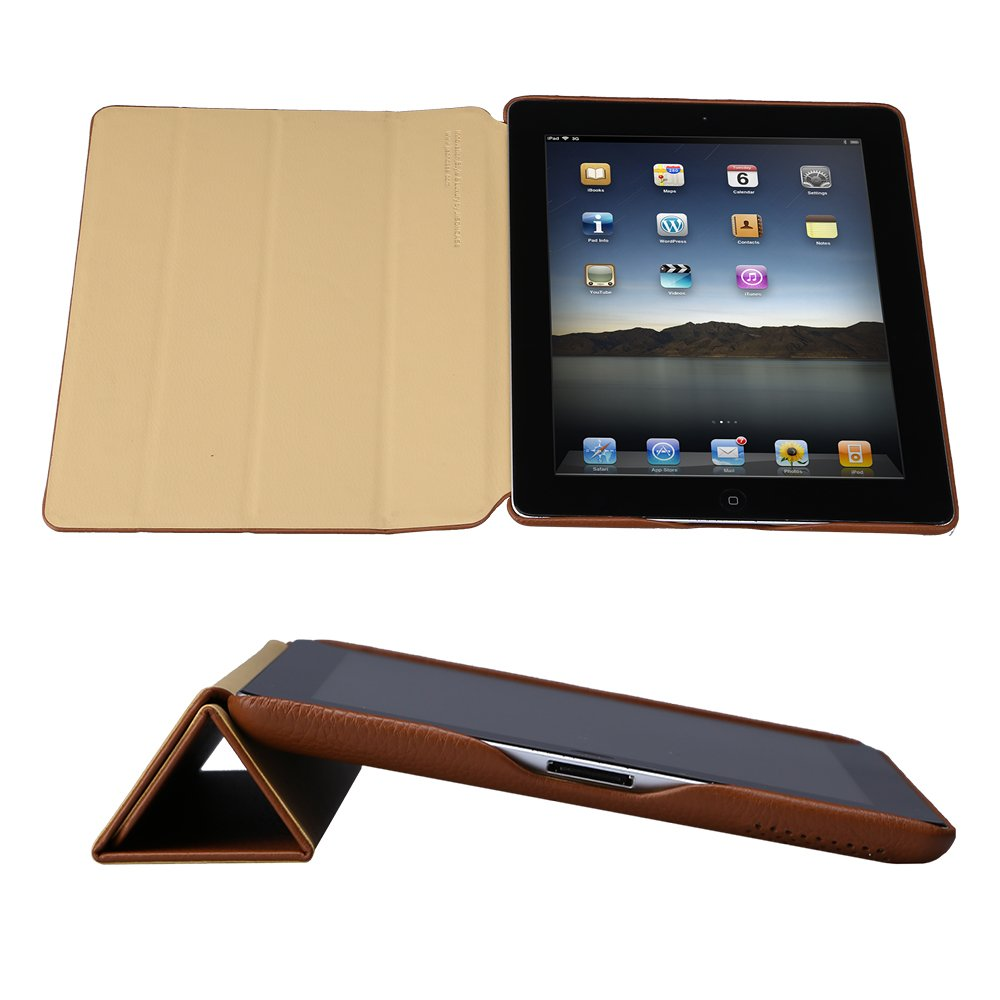 Jisoncase Vintage Genuine Leather Smart Cover Case for iPad 2, 3 & 4, JS-ID-006A-Brown