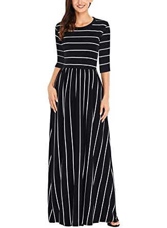 6f5ba9ccdc Acelitt Womens Autumn Casual Loose Striped Long Dress 3 4 Sleeve Pocket Maxi  Dresses for Women