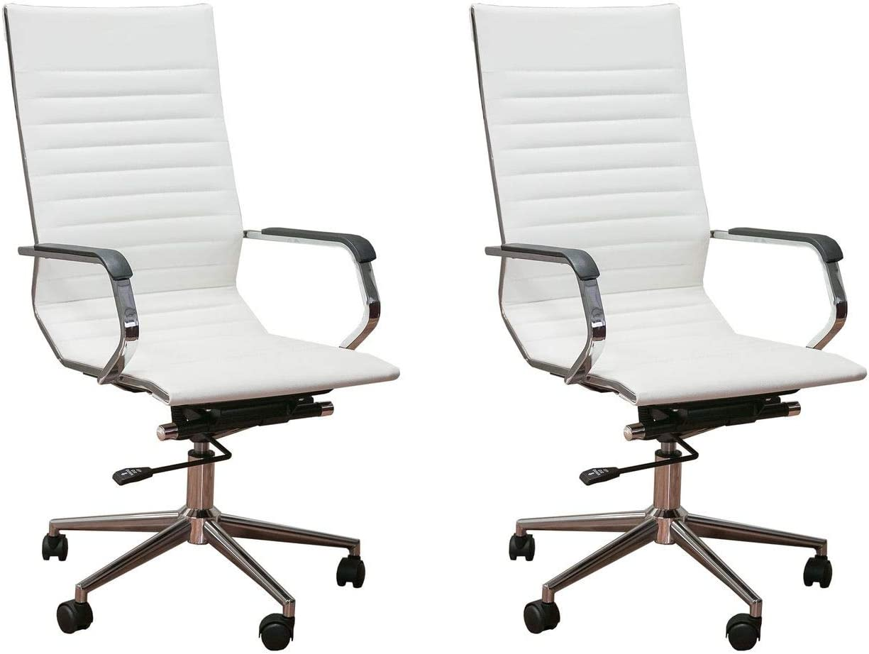 ErgoMax Set of 2 Ergonomic Height Adjustable High Back Office Chairs w/Armrests, 46.9 Inch Max, White