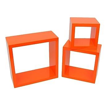 Ts ideen 7125 set di 3 mensole a cubo da parete stile retro, mdf ...
