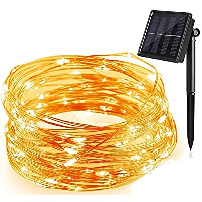 ANTSIR Outdoor Solar Powered Copper Wire String Lights,200 LEDs 66ft 8 Modes,Waterproof for Christmas,Landscape,Garden,Trees,Weddings,Parties