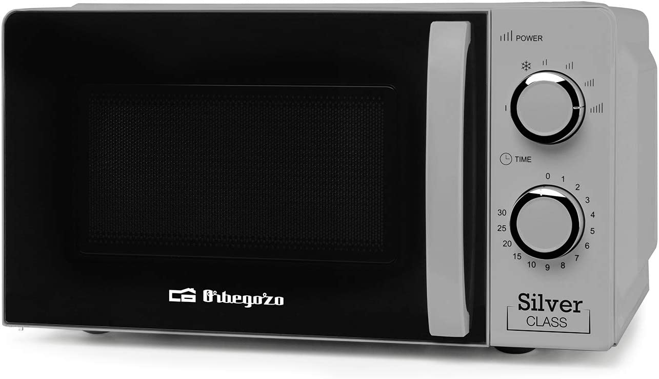Orbegozo MI 2118 - Microondas con 20 Litros de Capacidad, 6 Niveles de Funcionamiento, Temporizador hasta 30 Minutos, 700 W de Potencia, Color Plata