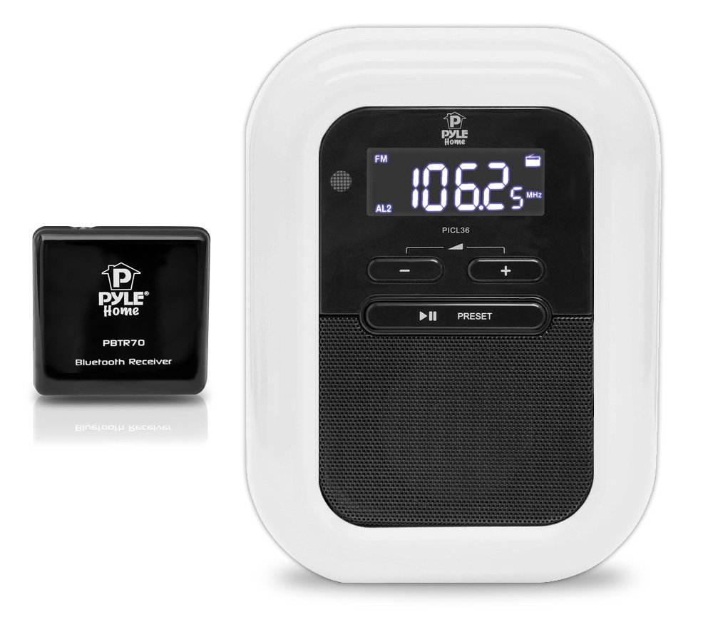 Pyle PLBACS Bluetooth Music Streaming Digital Alarm Clock and Receiver System with FM Radio, 30-Pin iPod Dock and LCD Display