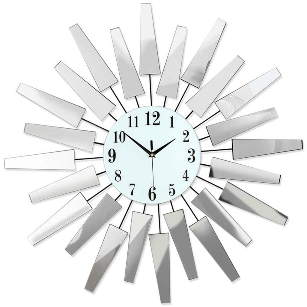 壁時計 現代ミニマルリビングルームの壁時計クリエイティブファッション時計ヨーロッパの鏡時計ミュート石英の壁時計時計テーブルを吊るす (色 : #1) B07DS9J9HQ#1