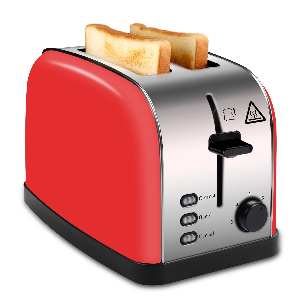 MADETEC 2 Slice Wide Slot Toaster Red for Bread Bagel, Brushed Stainless Steel Toaster with Removable Crumb Tray,High Lift Lever, Defrost, Bagels and 7 Shade Setting