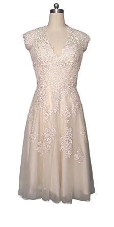 1851b6fdb23 Ruolai Vintage Lace Short Wedding Dress Tea Length Evening Gown Champagne 2